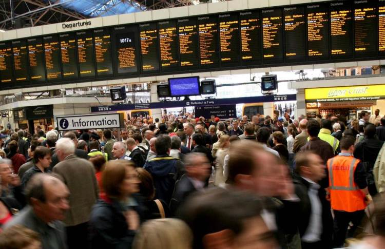The scene at Victoria Station, central London, after some of the country's busiest rail routes were cancelled or disrupted because of a huge fire.