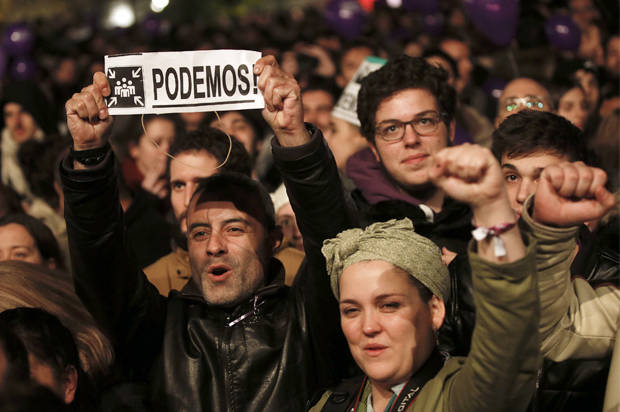 Podemos (We Can) party supporters react after results were announced in Spain's general election in Madrid, Spain, December 21, 2015.    REUTERS/Sergio Perez  - RTX1ZIZ6
