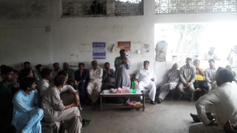 لاہور: ریلوے واشنگ لائن میں ریلوے لیبر یونین کا احتجاجی جلسہ