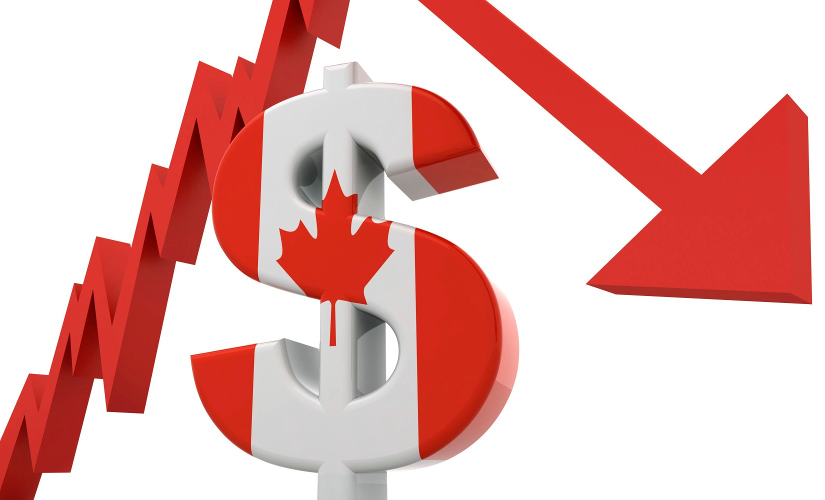 Canadian Dollar Crash Concept
