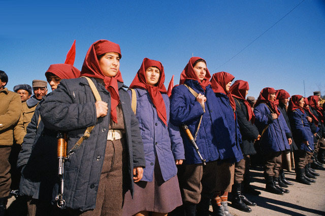 05 Feb 1989, Kabul, Afghanistan --- Demonstration of the Communist People's Democratic Party of Afghanistan (PDPA) in Kabul during the Soviet troop withdrawal. --- Image by © Patrick Robert/Sygma/Corbis